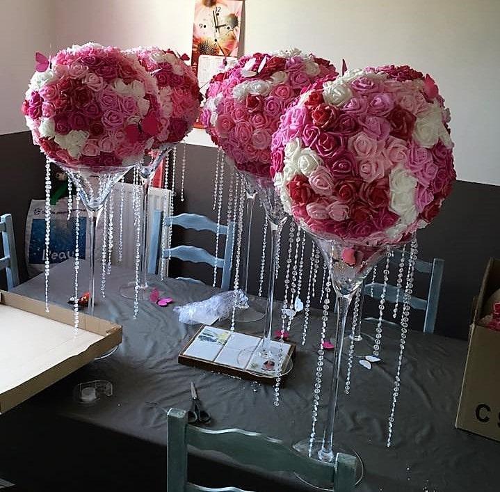 Diy boules de fleurs pour vase martini centre de table - Vase en plastique pour centre de table ...